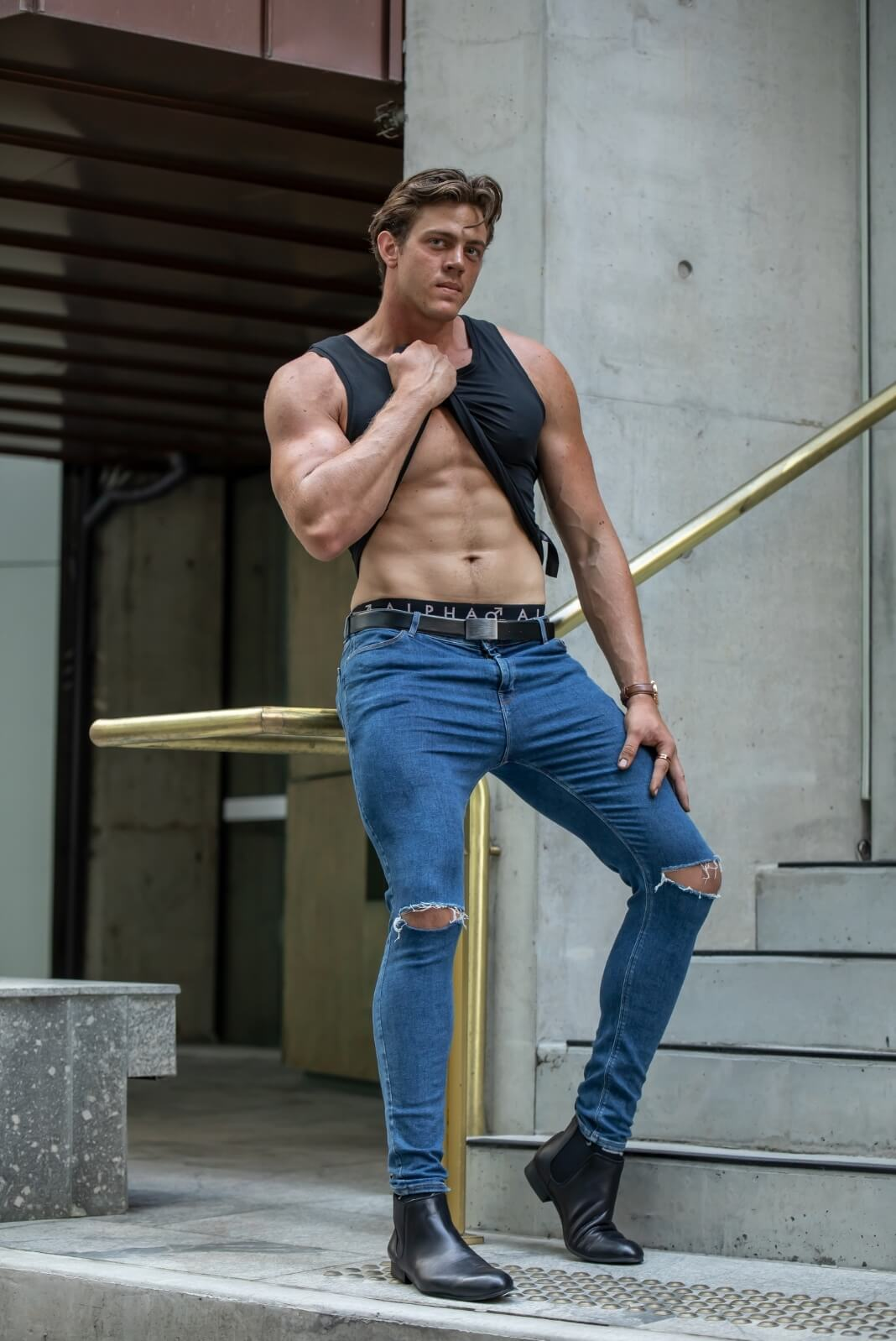 Ryan Charlesworth on jeans Bowtie Boys